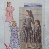 Butterick Sewing Pattern #4405 ~ Girls Couture Dress Size 12 & 14 ~ Vintage 1989