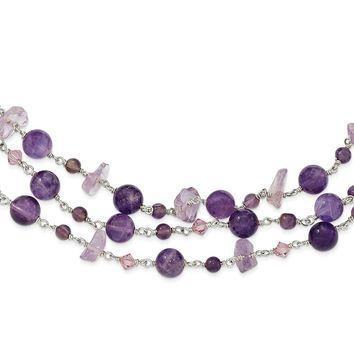 Sterling Silver 16 Inch 3 Strand Amethyst/Lilac Crystal Necklace