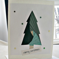 handmade iris fold Christmas card – Merry Christmas tree