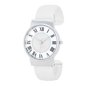 Fayth Classic White Leather Cuff Watch