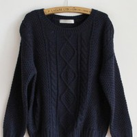 Pretty Round Neck Navy Sweater$43.00