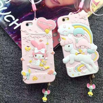 ONETOW Luxury 3D Cute My Melody Little Twin Stars Silicon Soft Case Capa Para Cover For iPhone 6 6S 6 Plus With Dust plug strap