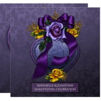 Purple and Yellow Roses Handfesting Invitation |