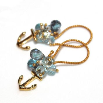 Ombre Blue Topaz Earrings Gold Vermeil Anchor Earrings Nautical Refuse to Sink Handcrafted Gemstone Jewelry