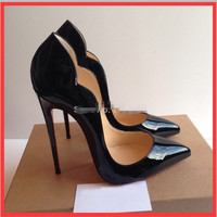 Women Pumps Sexy Queen Patent Leather 12 CM Thin Heels High-heeled Shoes Woman Pointed Toe  Pumps Wedding Shoes Plus Size 36-46