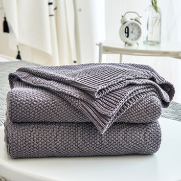 Dark Grey Cotton Cable Knit Throw Blanket