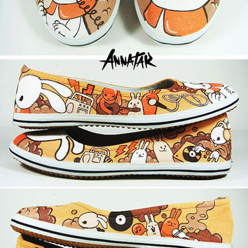 Bunny Beat , hand painted ballerinas shoes