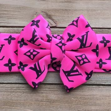 Designer Inspired Headband- LV Bow; LV Headwrap; LV Headband; Head Wrap; Baby Headband; Baby Headwrap; Toddler Headwrap; Bows; Louis Vuitton