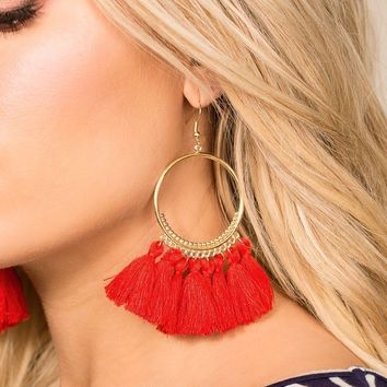 In The Loop Red Tassel Earrings