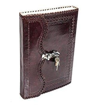 One of a kind Handmade Goat Leather Journal Real Lock & Key