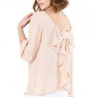 Coletta Bow Blouse in Taupe - ShopSosie.com