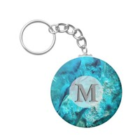 Raw And Rough Turquoise Texture Monogram Keychain