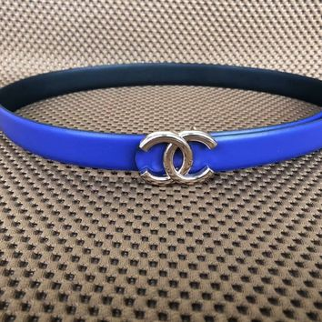 Chanel trendy men and women with the same paragraph fashion casual belt F-KWKWM blue