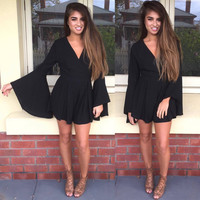Wide Sleeves V-Neck Rompers Jumpsuits