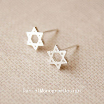 925 Sterling Silver Six Pointed Star earrings,delicate sterling silver earrings