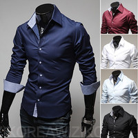 Men Korean Plus Size Long Sleeve Shirt [9883851395]