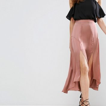 ASOS Midi Satin Skirt with Splices and Seam Detail at asos.com