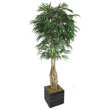 "84"" Artificial Willow Ficus with Multiple Trunks in 14"" Black/Grey Square Fiberstone Planter"