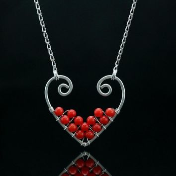 Valentines gift Sterling silver coral heart pendant necklace Free US Shipping handmade anni designs
