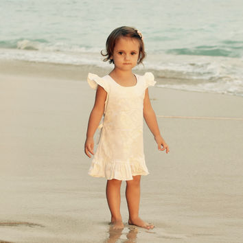Hibiscus White Flower Girl Dress