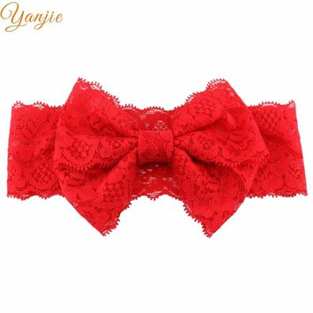 "13pcs/lot 2017 Hot-sale 2 Layer 5"" Bow Elastic Lace Headband Headwraps Hair Bow DIY Little Girl Hair Accessories Bandana"