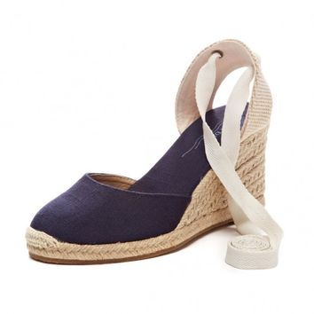 Tall Wedge Sandal - Navy Espadrilles for Women from Soludos - Soludos Espadrilles