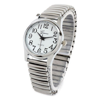 Silver Medium Size Geneva Fancy Stretch Band Women's Watch