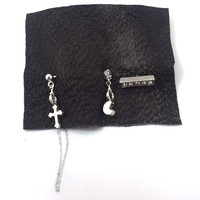 Zeppelin Silver Cross & Moon Earring Set