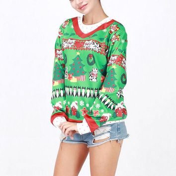 VONGB5 Hot Deal On Sale Winter Costume Cartoons Christmas Tops Santa Ugly Christmas Sweater [9475941636]