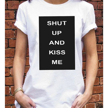 Shut Up and kiss me t-shirt - Graphic Tshirt - Célfie T-shirt - Céline Shirt Paris Fashion