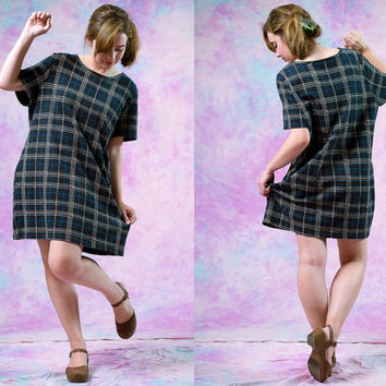 vtg 90's plaid t shirt dress, 1990s preppy prep school green casual frock,  tumblr soft grunge vaporwave aesthetic