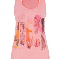 Beach Scene Graphic Print Tank With Ethnic Print Shimmer - Pink