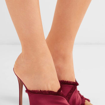 Gianvito Rossi - Frayed satin mules