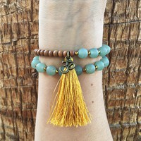 Matte Aventurine and Sandalwood, 'Balance and Healing', 27 Bead Wrist Mala Wrap Bracelet