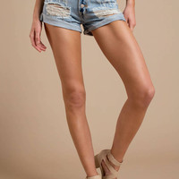 Into You Distressed High-Rise Denim Shorts