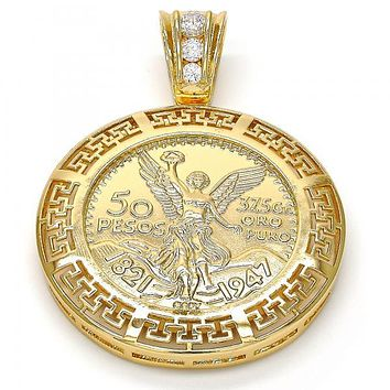 Gold Tone 05.185.0011.2.GT Religious Pendant, Greek Key Design, with White Cubic Zirconia, Polished Finish, Gold Tone