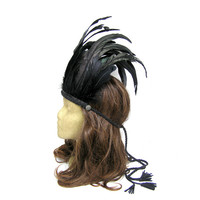 Black Feather Headdress, Festival Headdress, Hair Feather Accessory, Tribal Headband, Feather Crown, Indian, Hippie, Boho, Bohemian