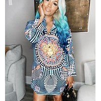 Versace Fashion New Human Head Pattern Print Leisure Long Sleeve Dress Women