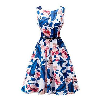 Vintage Floral Printed Cotton Sleeveless Womens Pleated Dress 093