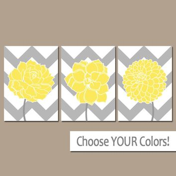 CHEVRON Flower Wall Art, Yellow Gray Bathroom Decor, Succulent CANVAS or Prints Yellow Gray Bedroom Wall Decor, Flower Dahlias, Set of 3