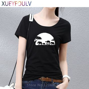 Women T Shirt Funny STAR WARS AT-AT National Geographic 2018 Summer Slim Fit Causal Woman Short Sleeve Design Cotton Tees