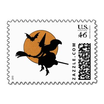 Halloween Vintage Witch Flying Broom Sihouette Postage Stamps