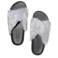Faux Fur CrissCross Slides - PINK - Victoria's Secret
