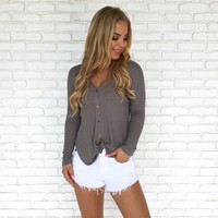 Knit Happens Top in Grey