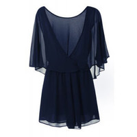 Glamorous Women's Wrap Back Playsuit - Navy