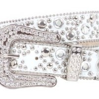 "Snap On 40mm Western Rhinestone Rivet Studs Leather Belt Size: M/L - 35"" Color: White"