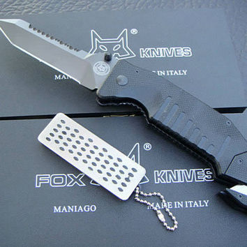 Top quality FOX F29 Survival Folding knives 7Cr13Mov 58HRC Blade Outdoor Camping Hiking Rescue knife Tactical Knife knives with nylon Sheath