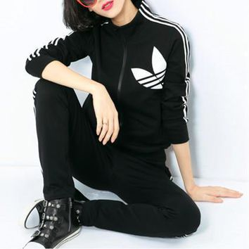 Adidas Fashion Casual Stripe Clover Print Long Sleeve Cardigan Cotton Sweater Set Two-Piece Sportswear-1