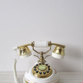 amazing shabby chic french style rotary push button telephone // white gold