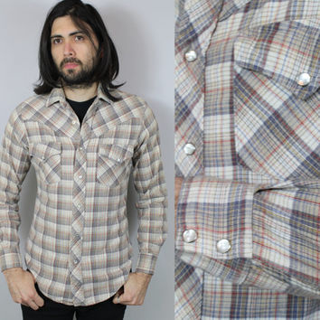 SALE - 70s Boho - Tan & Grey - Snap Button Up - Collar - Fitted - Western - Plaid Flannel Shirt - American Shirtmakers